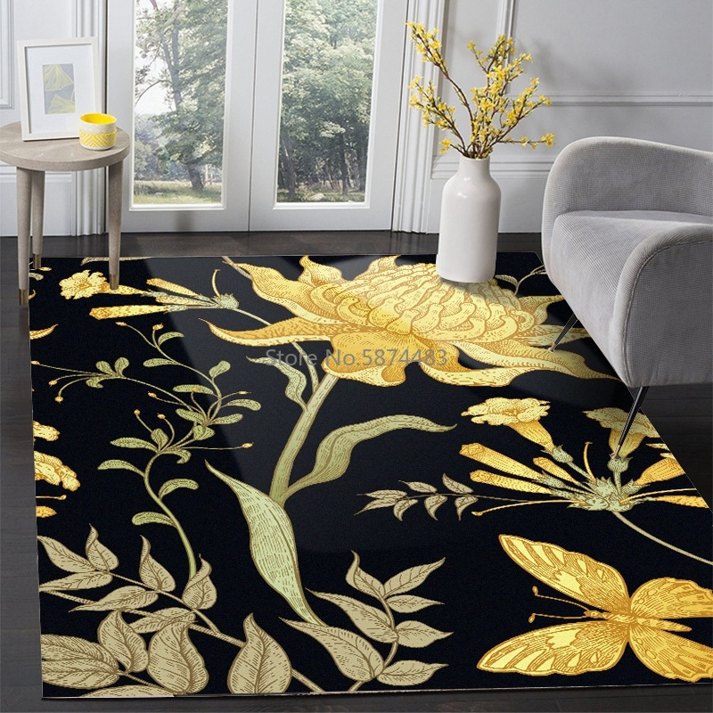 Pastoral Area Rug <font><b>3D</b></font> Golden Butterfly Flowers Carpets Living Room Coffee Table Non-Slip Floor Mat Balcony Bedroom Bedside <font><b>Tapete</b></font> image