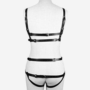 Image 4 - CEA חגורת סט אופנה סקסי נשים פאנק רוק עור לרתום חזה חגורת גוף שעבוד לרתום מותניים כדי רגל כתפיות בירית חגורות