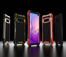 Armor Aluminum Bumper Carbon fiber Tri-proof Waterproof Case for Samsung Galaxy S10 5G S9 Plus S8 S7 Edge Cover Fundas Coque Cas(China)