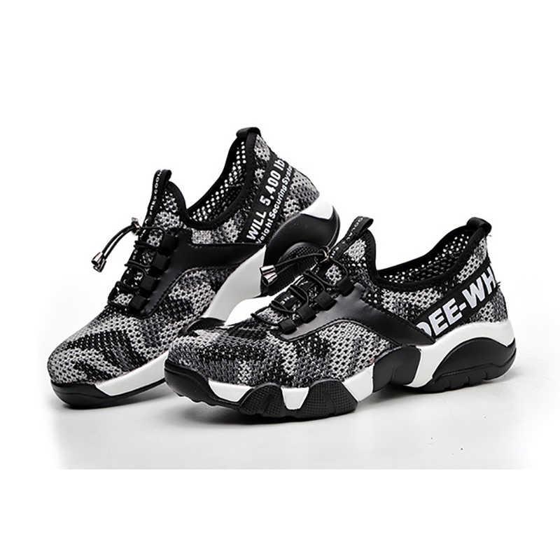 Nuevos zapatos de trabajo de seguridad para nariz de acero para hombres, zapatillas de deporte informales reflectantes, de rejilla, transpirables, ligeras, para evitar perforaciones, botas de protección