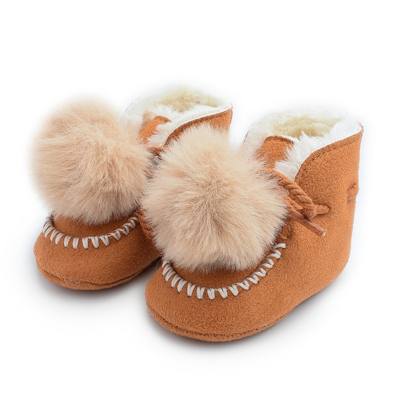 Autumn Baby Girl Boy Solid Boots Toddler Kids Casual Plush Ball Design Shoes Newborn Cute Non-slip Soft Sole Shoe Casual Boots