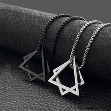 Collier homme triangle carré pendentif géométrie acier inoxydable chaîne collier femmes grand noir collier hommes bijoux sur le cou