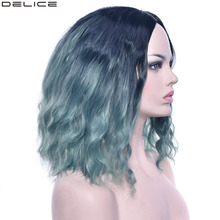 Delice Womens Afro Curly Bob Wig Middle Part Synthetic Hair Ombre Green Cosplay Short Wigs