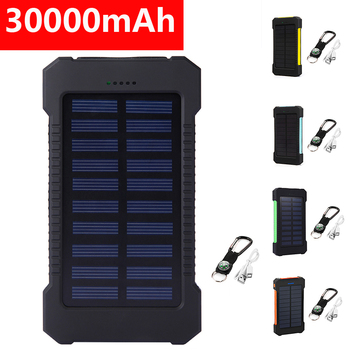 Solar Power Bank 30000mAh Dual USB Waterproof Solar Charger Power Bank Portable External Battery Pack Powerbank with LED Light 1
