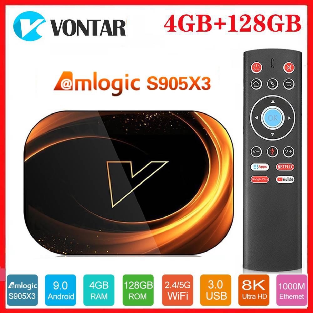 Смарт ТВ-приставка Vontar 8K Amlogic S905X3 Android 9,0 Max 4 ГБ ОЗУ 128 Гб ПЗУ 1000 м двойной Wifi Netflix Youtube медиаплеер