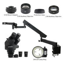 3.5 90X Simul Focal Trinoculaire Stereo Zoom Microscoop 144 Led Licht Multifunctionele Scharnierende Arm Pijler Voor Lab Reparatie
