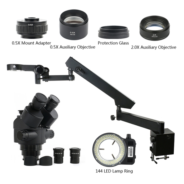3.5 90X Simul Focal Trinocular Stereo Zoom Microscope 144 LED Light Multifunction Articulating Arm Pillar For Lab Repair
