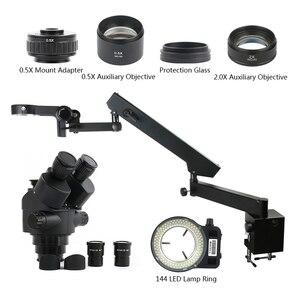 Image 1 - 3.5 90X Simul Tiêu Cự Trinocular Stereo Zoom Kính Hiển Vi 144 Đèn LED Đa Chức Năng Articulating Arm Trụ Cột Cho Phòng Thí Nghiệm Sửa Chữa