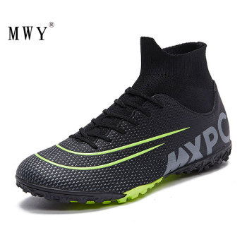 MWY Men High Ankle Football Boots Soccer Cleats Turf Shoes Kids Soccer Shoes Indoor Futsal Sneakers Chaussure Football Enfant kelme professional futsal football boots soccer shoes original football cleats tf black sneakers men soccer futsals 871701
