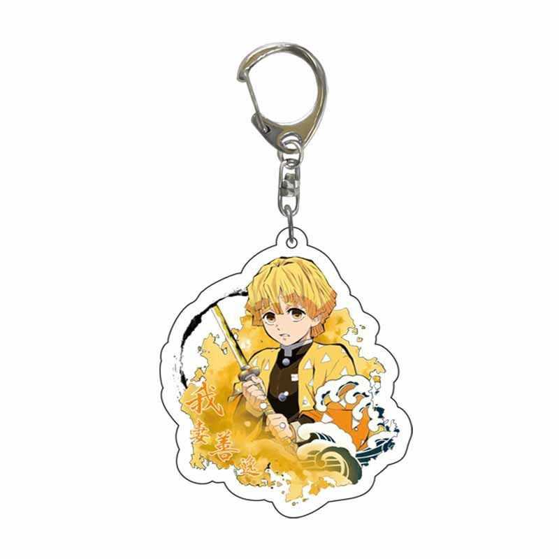 Anime iblis avcısı akrilik anahtarlıklar sevimli Brinco bıçak hayalet anahtar zincirleri Kamado Tanjirou Cosplay ponpon Yaiba anahtarlıklar kolye