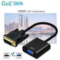 DVI Maschio a VGA Femmina Adattatore Full HD 1080P DVI-D a VGA Adattatore 24 + 1 25Pin per 15Pin convertitore di cavo per PC Monitor Del Computer