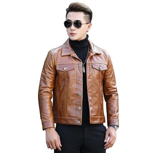 Free Shipping. Fashion Classic Cowhide Jacket.japan 557 Style Genuine Leather Jackets.slim Young Motor Coat.sales