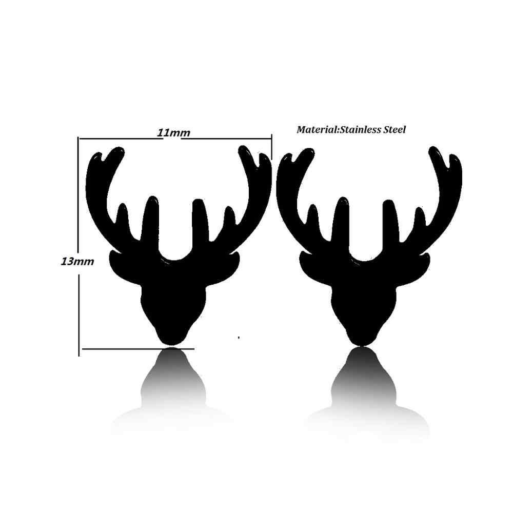 Oly2u สแตนเลสขนาดเล็กต่างหูผู้หญิงเครื่องประดับคริสต์มาสเครื่องประดับต่างหูน่ารักสัตว์ Deer Stud ต่างหูหญิงเด็ก boucle d'oreille