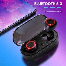 Auriculares TWS A2 inalámbricos por Bluetooth 5,0, cascos deportivos a prueba de agua estéreo HiFi con micrófono y caja de carga