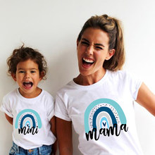 1pc Family Matching T-shirts Mother and Daughter Son Tshirt Boys Girls Clothes Rainbow Mama and Mini Shirts Family Look Outfits