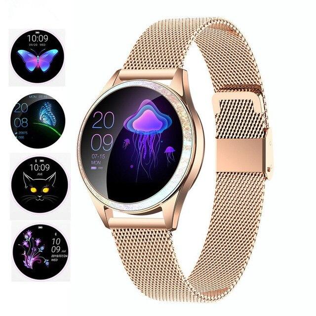 KW20 חכם שעון נשים IP68 עמיד למים ניטור קצב לב Bluetooth עבור אנדרואיד IOS כושר צמיד נשי Smartwatch