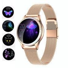 KW20 inteligentny zegarek kobiety IP68 wodoodporna monitorowanie tętna Bluetooth dla Android IOS bransoletka Fitness kobiet Smartwatch