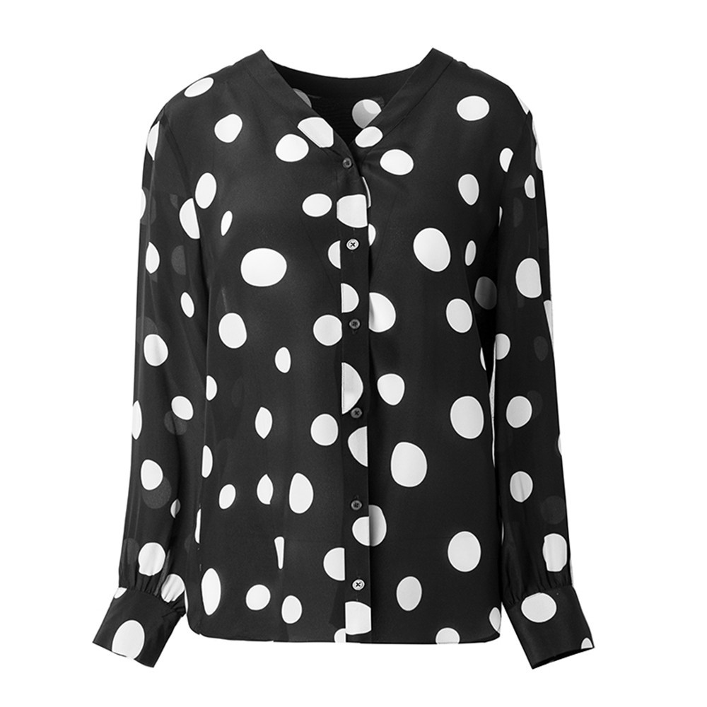 Silviye Polka dot printed silk shirt women long sleeve temperament V-neck fashion party bottoming top blusas mujer de moda 2020