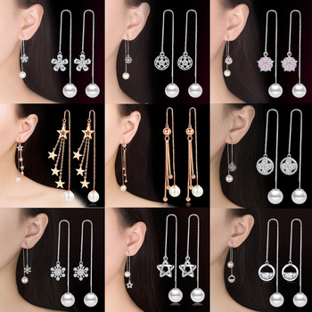 NEHZY 925 Sterling Silver New Jewelry High Quality Cubic Zirconia Pearl Fashion Woman Long Tassel Round Retro Earrings