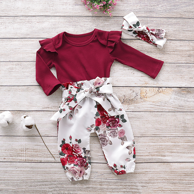Pudcoco Newborn Baby Girl Clothes Knitting Cotton Long Sleeve Romper Tops Flower Print Long Pants Headband 3Pcs Outfits Clothes 6