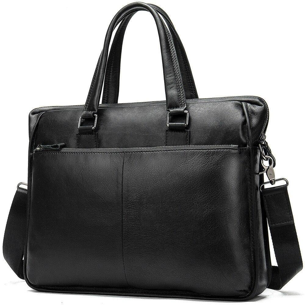 Genuine Leather Laptop Male Package Men's Handbag Business Affairs Single Shoulder Business Travel 14 Inch Briefcase Computer