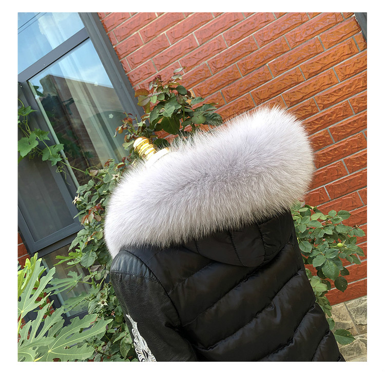 MS.Minshu Fox Fur Collar Parka Coat Collar Genuine Fox Fur Big Collar Fluffy Fox Fur Hood Collar - Цвет: light grey