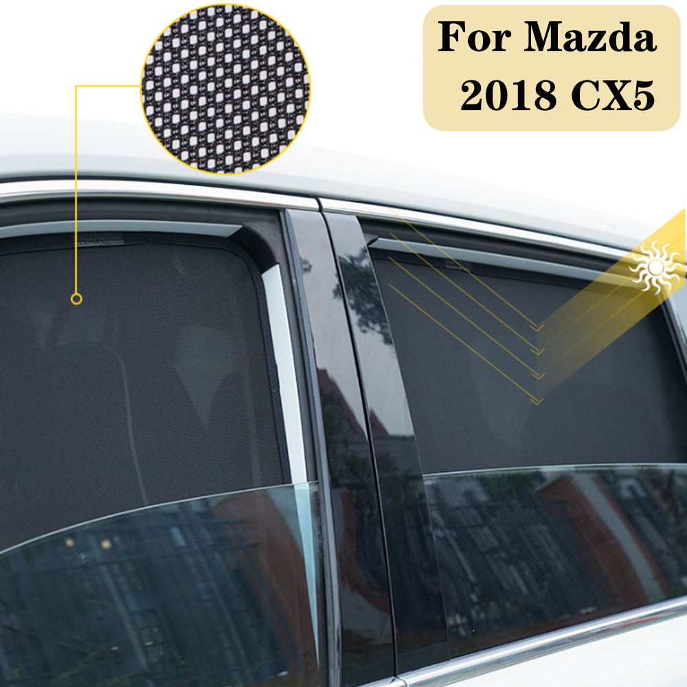 For Mazda CX5 2018 7Pcs Car Window Sunshade Gauze Mesh Sunshield Cover Magnetic Attraction Insect-proof Car Accessories