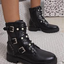 [GOGD]2019 New Pearl Buckle Women Ankle Boots Lace Up Rivet
