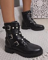 [GOGD]2019 New Pearl Buckle Women Ankle Boots Lace Up Rivet Casual 3 Buckles Winter Women Martin Boots
