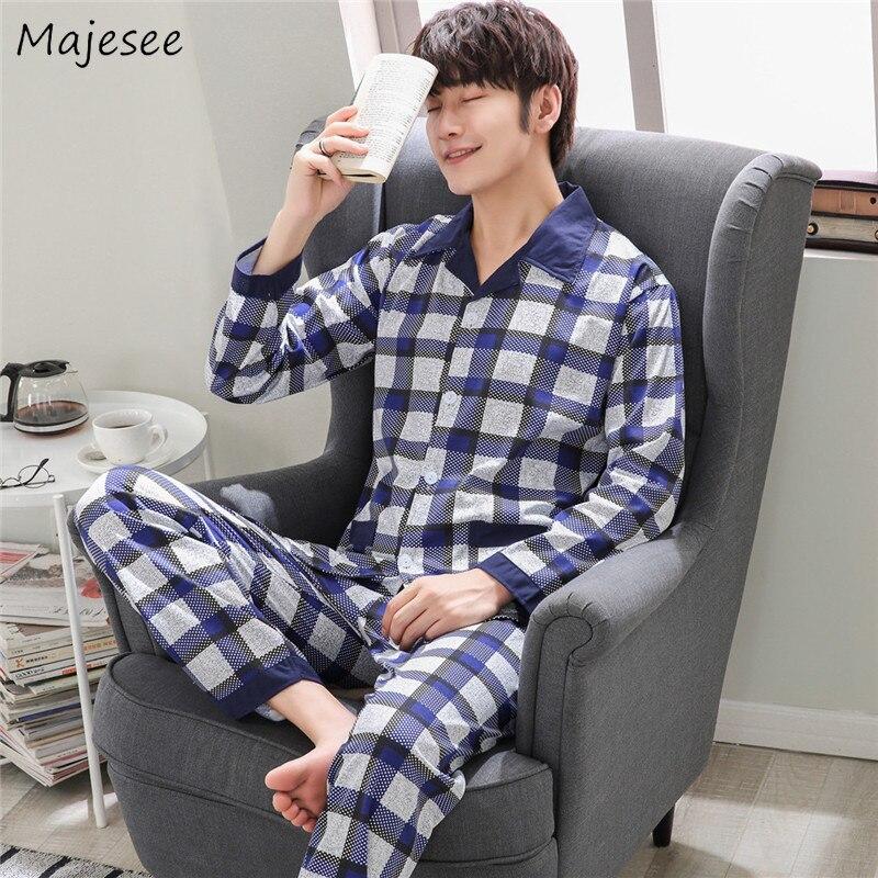 Pajama Set Men Plaid Simple All Match High Quality Long Sleeve Harajuku Casual Mens Pajamas Elastic Waist Plus Size Comfortable