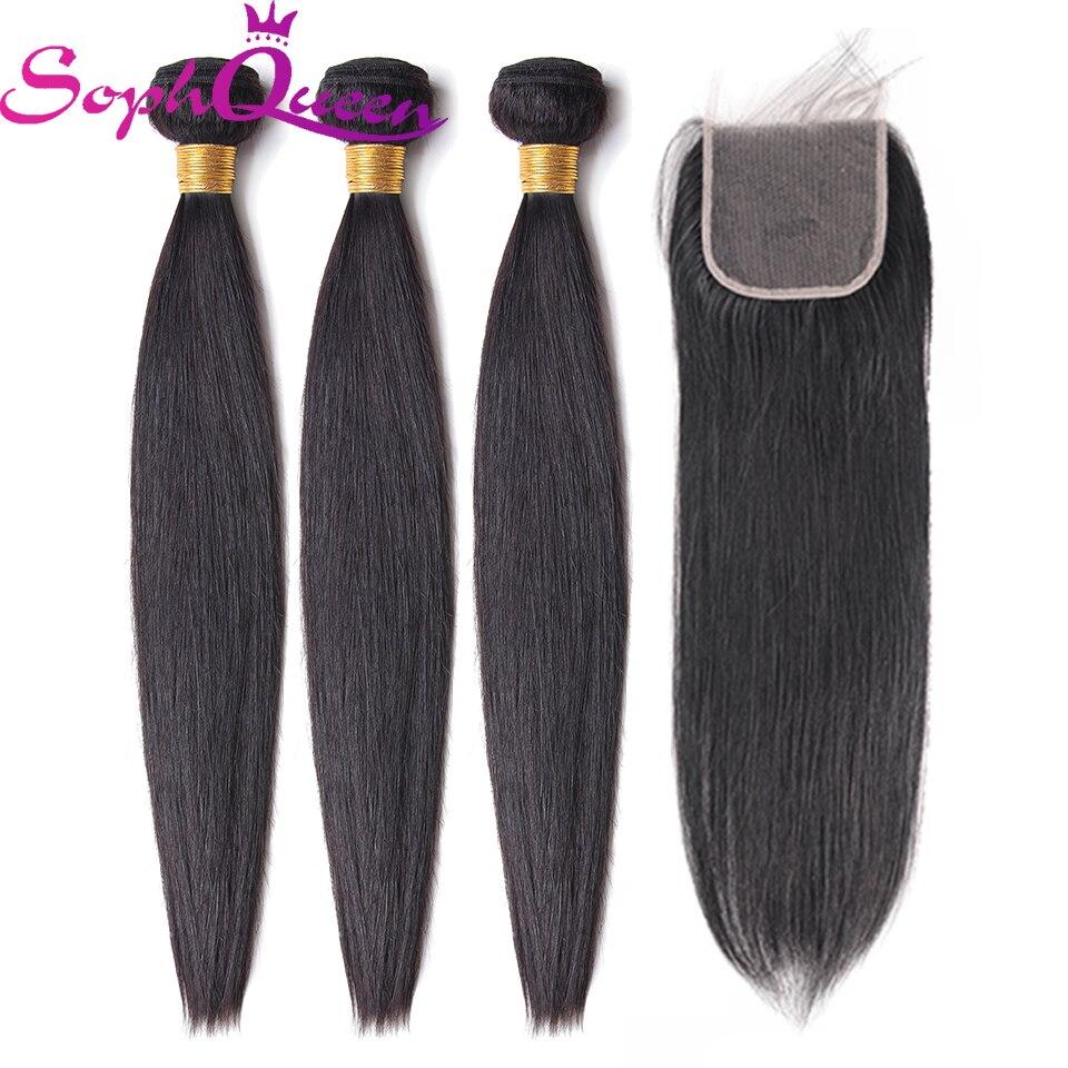 Soph Queen Brazilian Hair Wave Bundles With Closure Remy Straight Hair Bundles With Closure Human Hair 3 Bundles Hair Extension