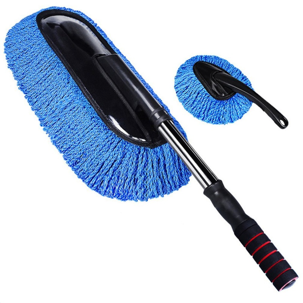 New Car Wash Cleaning Brush Microfiber Dusting Tool Duster Dust Mop Home Cleaning Supplies Car Mop Blue One Large One Small Hot