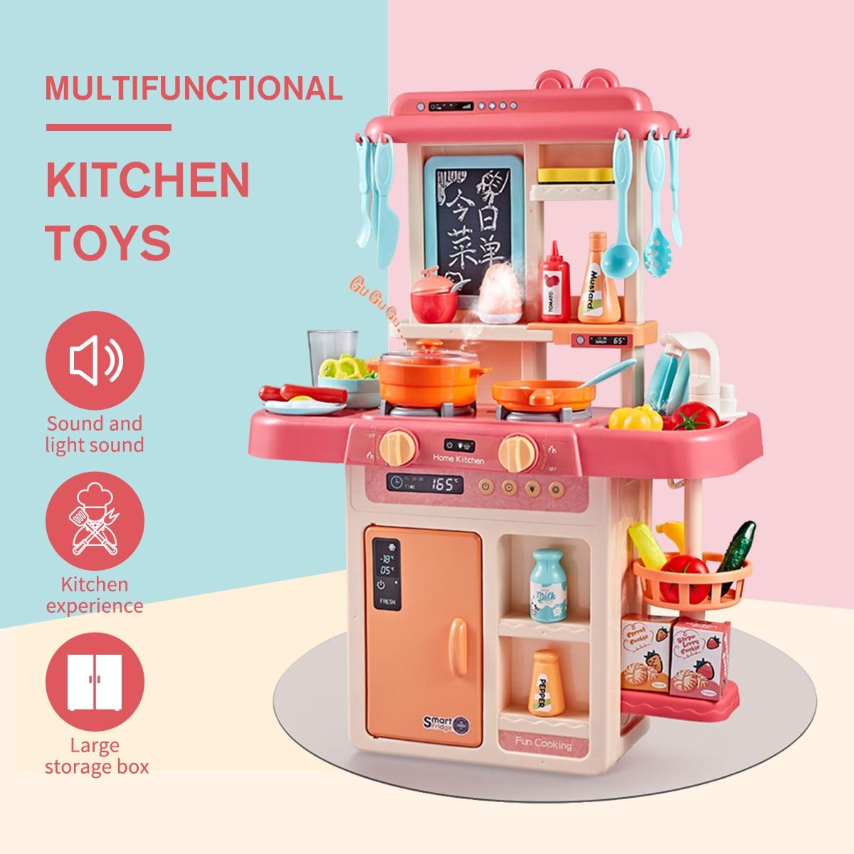 23/26/42Pcs Kid Kitchen Toy Simulation Kitchen Toy Spray Water Dinnerware Pretend Play Kitchen Cooking Table Set Children's Gift