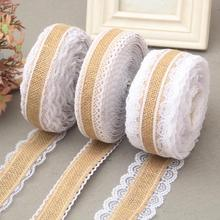 2m/Roll Linen Vintage Burlap Lace Table Runner Handmade Jute Burlap Band for Country Party Wedding Christmas Decoration wedding party lace vintage jute table runner burlap fabric for burlap chair sashes burlap ribbon wedding decor supplies 15 240cm