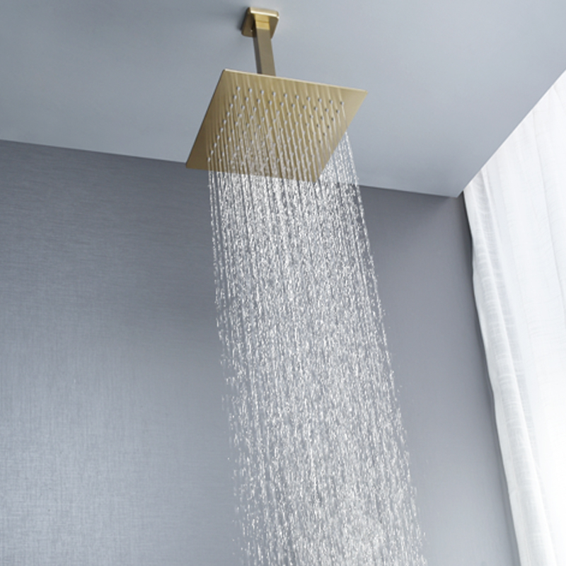 "Brushed Gold Rain Shower Head Bath Faucet Set 8 10 12 Ceiling Mounted Bathroom Shower Heads Brushed Gold Rain Shower Head Bath Faucet Set 8/10/12"" Ceiling Mounted Bathroom Shower Heads Single Function Shower Trim Kit"
