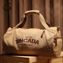 Мужская холщовая дорожная сумка большой вместимости, мужская сумка для фитнеса, спорта, тренировок с карманом, черная, хаки, сумка на плечо ...