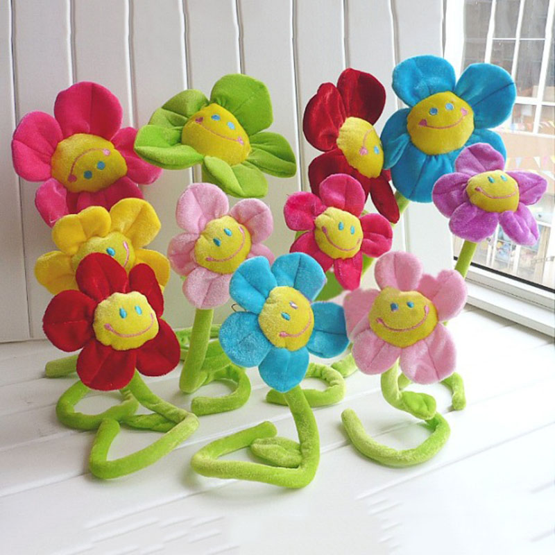 5Pcs/Set Children's 30cm Stuffed Plush Plants Toys Room Decorations Curtain Clip Sunflower Plush Toys 8 Colors Kids Girls' Gift