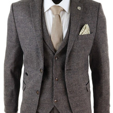 2020 Brown Mens Suits Wool 3 Piece Check Costume Homme Tweed Tailored Fit Peaky