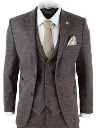 2020 Marrone Abiti da Uomo di Lana 3 Check Pezzo Costume Homme Tweed su Misura Fit Peaky Paraocchi Gatsby Vestito 1920 S