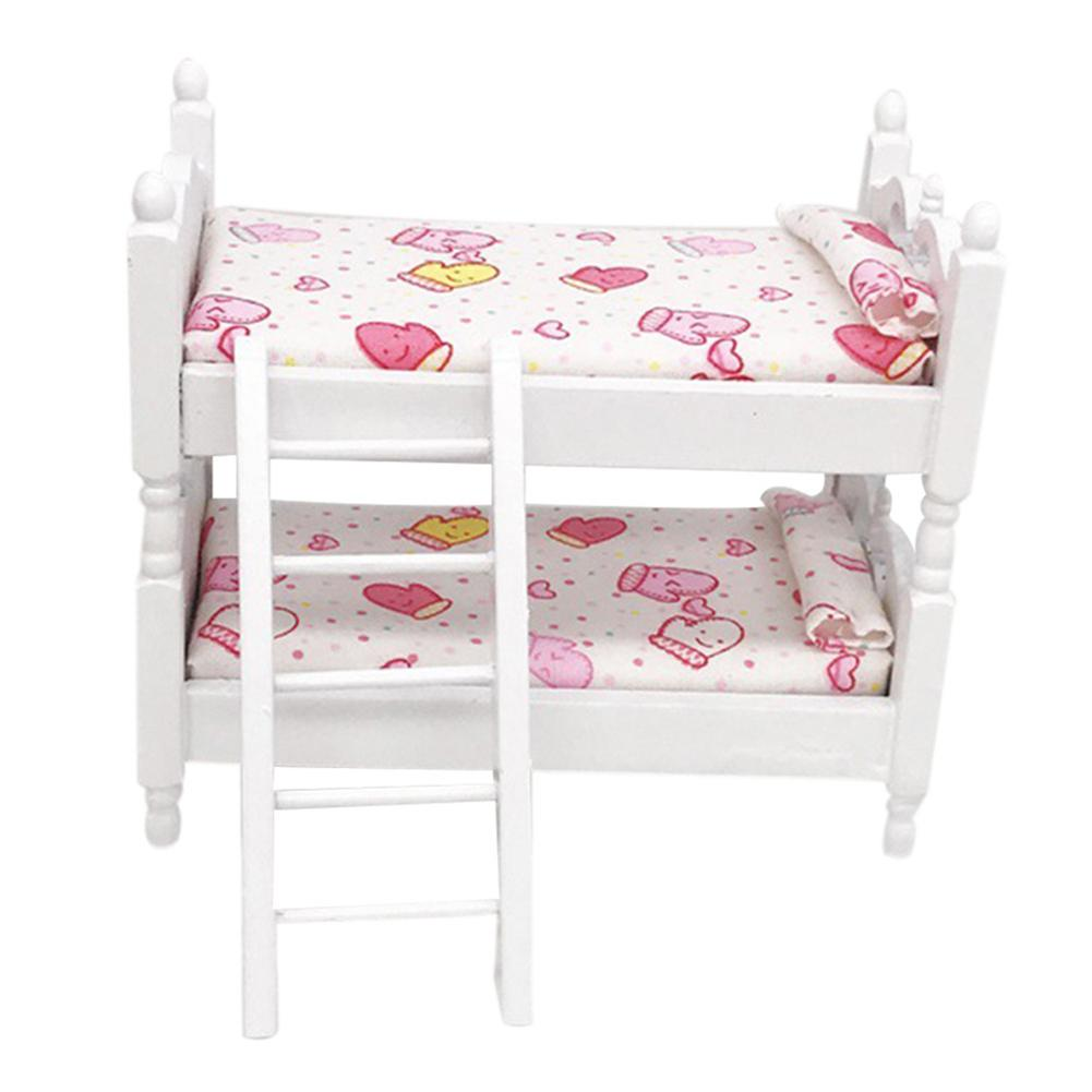 1/12 Mini Doll House Bunk Bed Living Room Furniture Decor Kids Pretend Play Toy