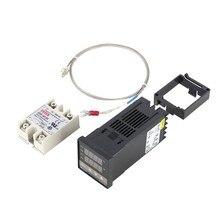 Kit de régulateur de température PID numérique double affichage numérique REX C100 Thermostat + relais SSR 40Da + capteur de sonde de Type K CNIM chaud