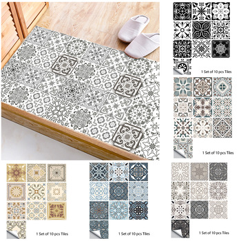 10pcs Gray Retro Pattern Matte Surface Tiles Sticker Transfers Covers for Kitchen Bathroom Tables Floor Hard-wearing Wall Decals 1