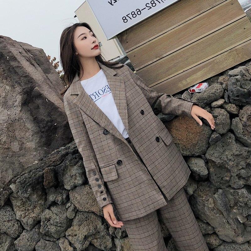Женский костюм осень 2019 Новый Модный повседневный темперамент свободный клетчатый двубортный маленький костюм брюки из двух частей