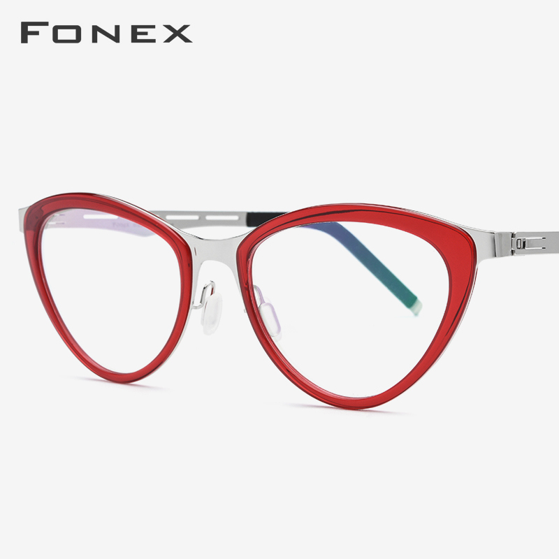 Acetate Eyeglasses Frame Women Cat Eye Prescription Myopia Optical Glasses Frames Female Cateye Spectacles Screwless Eyewear 618 image