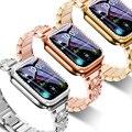 Ремешок + чехол подходит для Apple Watch 40 мм 44 мм 38 мм 42 мм ремешок для iwatch series 5 4 3 2 1 браслет из нержавеющей стали со стразами