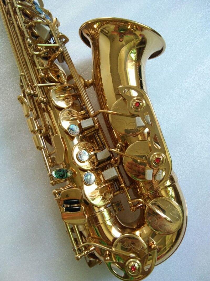 ouro laca sax instrumentos musicais profissionais com bocal, caso duro