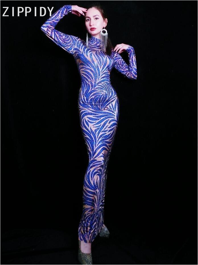 Blue Purple Rhinestones Long Sleeves Dress Birthday Celebrate Dress Bar Women Singer Dancer Outfit Prom Stage Dress