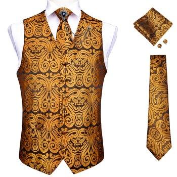 New Teal Green Paisley 100% Silk Formal Dress Vest Men Waistcoat Vest Wedding Party Vest Tie Brooch Pocket Square Set DiBanGu 27