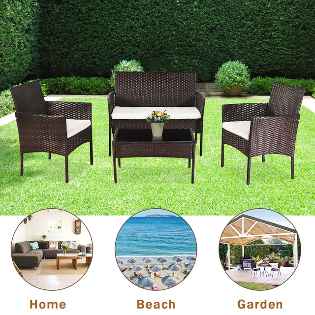 4 Pcs Outdoor Sofa  Porch Bistro Sets  2