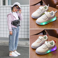 New Kids Boys Girls Shoes 2020 Children Luminous Sneakers Joker Small White Catamite Light Casual Shoes(China)